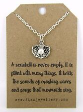 "Girls Silver Seashell Pearl Charm 18"" Necklace Mermaid Message Card New"