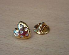 Goudkleurige pin broche hart met strass-steentjes  NIEUW