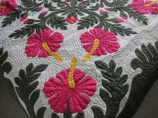 Hawaiian quilt wall hanging handmade 100% hand quilted/appliqued Bedspread Fp