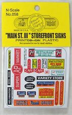 """N Scale """"Main St. III"""" Storefront Signs - Blair Line Signs #058"""