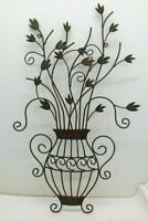 """Metal Wall Vase With Leaves Hanging Sculpture 25"""" Tall"""