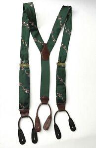 Vintage The Regent Suspenders Green Santa Gifts Christmas Unisex England