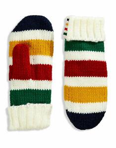 Hudson Bay Company HBC Striped Mittens Fleece Lined L/XL Multicolour Acrylic