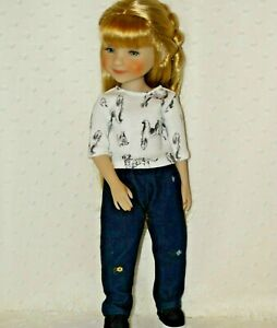 Fit Ruby Red Fashion Friends Doll Playtime Clothes ~Denim Pants and Puppies Top