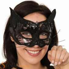 Sequin Lace Cat Face Mask With Ears Masquerade Halloween Fancy Dress Accessory
