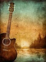 ART PRINT POSTER PAINTING DRAWING DESIGN GUITAR LANDSCAPE FOREST GRUNGE LFMP0634
