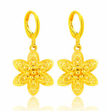 New 24K Yellow Gold Plated 6 Smart Petals  Women Ear Stick Earrings YjE021