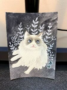 aceo card-original watercolor painting- cat
