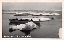AMONG THE ICE FLOES IN ALASKA~BOAT~GRAYCRAFT NATURAL FINISH POSTCARD c1940s