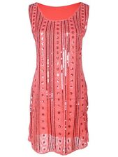 Fashion S/M Fit Coral Red Bead and Sequin Embellishment Sheer Fashion Dress