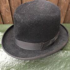 Vintage Mens Black Winston Bowler Hat Homberg Trilby Stage Theatre Prop