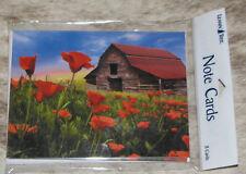 LEANIN TREE Field of Poppies w/ Log Barn #35573~8 Notecards~Blank Inside~