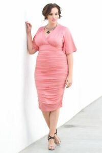 Kiyonna Women's Dress 2X Rumor Ruched Style Pink US Flutter Sleeves Bodycon