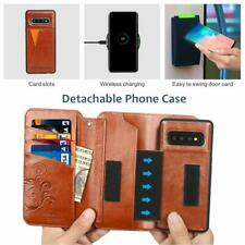Samsung Galaxy S10 Plus Wallet Case Stylish Leather Purse Detachable Cover Brown