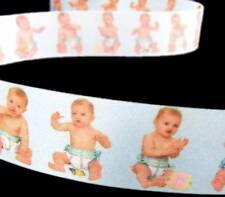 "5 Yds Baby Boy Pictures Blue Acetate Ribbon 1 7/16""W"