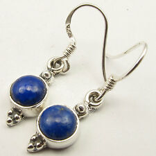 """Lazuli French Wire Earrings 1.2"""" New 925 Solid Silver Genuine Cabochon Lapis"""