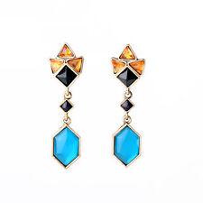 orecchini A perno Dorato Blu Navy Turchese Rosa Art Deco Amber AA 13