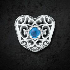 Pandora Silver December Signature Heart Birthstone Charm 791784NLB Mint Retired