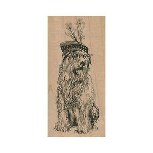 Mounted Rubber Stamp, Wheaton Terrier Dog, Dressed Up Dog, Dog In Hat & Glasses