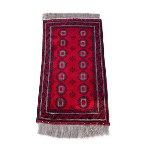 Antique Afghan Red Bokhara Wool Area Rug 4x6