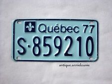 UNUSED 1977 QUEBEC SKI-DOO Vintage License Plate # S-859210
