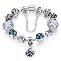 Wostu European 925 silver Charms Bracelet With Colorful Flower Beads For Women