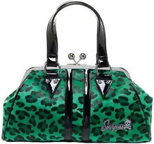 Sourpuss Green Leopard Temptress Purse NEW Punk Rock Pin Up Faux Fur Vinyl