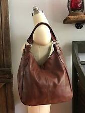 FLOTO Siena Leather Brown Hobo Shoulder Bag Crossbody Strap Italian Nappa $299