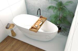 Freistehende Badewanne + Ablage Bambus oval 160x70 Ablauf ClickClack Mineralguss
