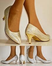Womens Wedding Bridal Prom Party Low Kitten Heel Diamante Court Shoes pumps-1013