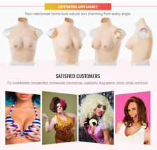 Silicone Breastplates Realistic Tan Fake Boobs D Cup for Crossdresser Cosplayer