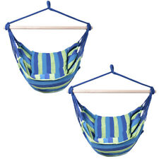 2 Pieces Deluxe Hammock Rope Chair Patio Tree Hanging Air Swing Blue & Green
