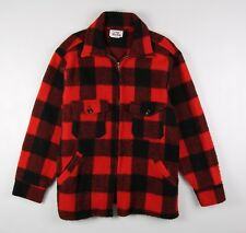 Duxbak Vintage Wool Hunting Jacket Shirt Men's Large Red Black Buffalo Check