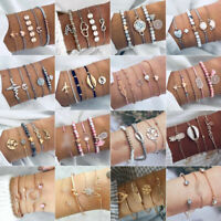 New Fashion Women Boho Gold Silver Bracelets Rhinestone Bangle Cuff Jewelry Set