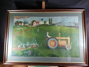 ESSEX TRACTOR IN LANDSCAPE BY KENNETH ROWNTREE 1915-1997 THE SCHOOL PRINTS ???