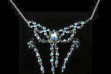 BLU Aqua Cristallo austriaco Collana Set LONG PENDENTE ORECCHINI Rodio Placcato 044