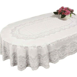 Table Cloth Cover Home Tablecloth Oval Rectangle Plastic Lace Pattern