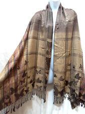Pashmina Wrap Scarf Winter Shawl Tie Dye Butterfly Striped Plaid Brown Beige