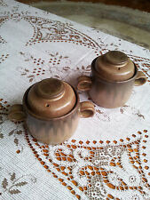 Denby Romany Collection 2 Soup Pots with Lids Set Stone Ware Brown Lidded Bowls