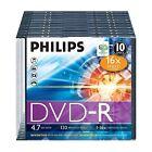 PHILIPS PAQUETE DE 10 DVD-R 120 MIN VIDEO 4.7GB DATOS 16X VELOCIDAD BLANCO