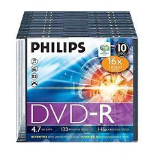 PHILIPS PAQUET DE 10 DVD-R 120 MINUTES VIDEO 4,7 GO DONNÉES 16X VITESSE VIERGE
