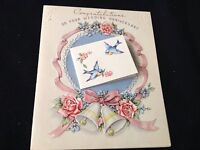 #638 Gorgeous Vintage 1940S Wedding Bridal Anniversary Card Bells Wreath Roses