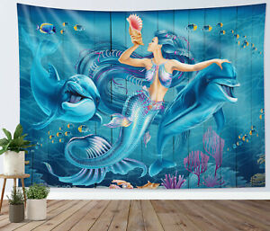 Mermaid Dolphin Tapestry Rustic Blue Wood Planks Wall Hanging Bedspread Cover