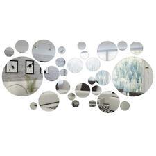 Set 32Pcs Rond Cercle Miroir Sticker Autocollant Mural Décoration Chambre Maison