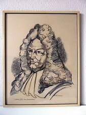Ludwig XIV der Sonnenkönig , Leo Grim Saarlouis, Tusche Zeichnung, Bild, Gemälde