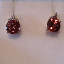 2.52ct Zanzibar Zircon & Diamond Gold Drop Earrings