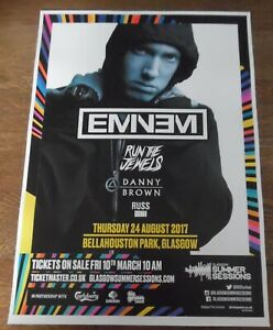 Eminem - live music show Aug 2017 promotional tour concert gig poster