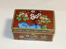 CHINESE CLOISONNE RED ENAMEL HUMIDOR TRUNK SHAPE JAR BOX