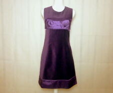 Women's Designer Rene Derhy Purple Velvet & Satin Sleeveless Party Dress Sz S