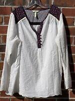 Matilda Jane Womens XXL Large Floral Blouse Long Sleeve White Eyelet Boho Shirt